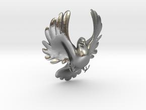 Bird No 4 (Doves) in Natural Silver