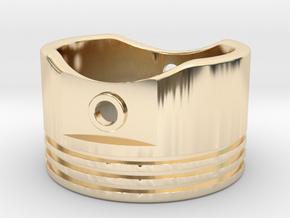 Piston Ring - US Size 11.5 in 14k Gold Plated Brass