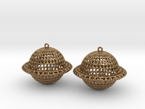 Saturn Voronoi Earrings in Natural Brass
