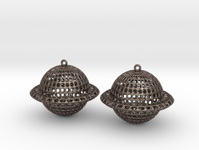 Saturn Voronoi Earrings in Polished Bronzed Silver Steel