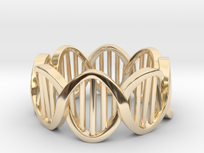 DNA Ring (Size 5) in 14k Gold Plated Brass