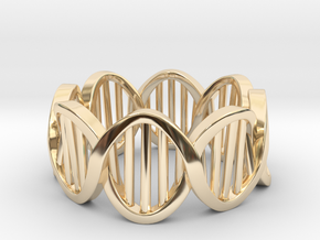 DNA Ring (Size 10) in 14k Gold Plated Brass