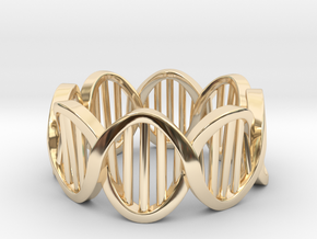 DNA Ring (Size 6) in 14k Gold Plated Brass