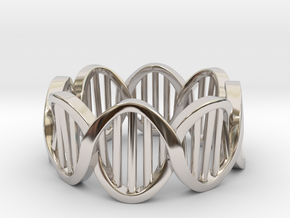 DNA Ring (Size 6) in Rhodium Plated Brass