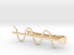 Cosine Wave Tie Bar (Metals) in 14k Gold Plated Brass
