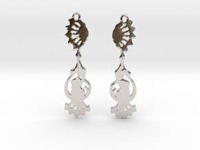 Peacock Earrings in Rhodium Plated Brass