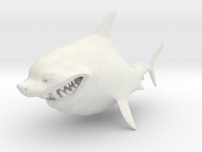 Cartoon Shark in White Natural Versatile Plastic