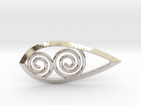 Tear Spiral Pendant in Rhodium Plated Brass