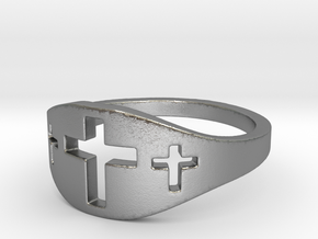 Cross Trio Ring Size 7 in Natural Silver