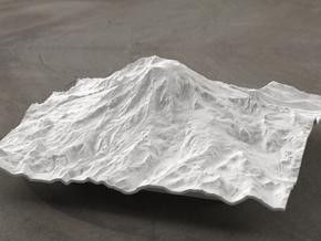 6'' Mt. Rainier Terrain Model, Washington, USA in White Strong & Flexible