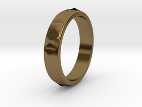 Faceted Ring. US 5.0 in Polished Bronze