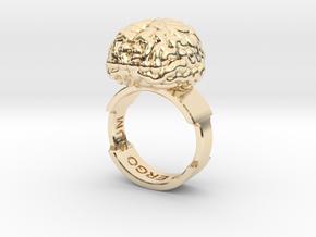Cogito Ergo Sum Brain Ring in 14k Gold Plated Brass