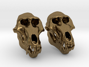Baboon Skull Earrings - closed jaw in Natural Bronze