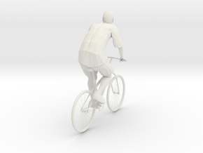 Man And Bicycle 1/29 scale in White Natural Versatile Plastic