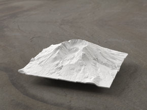 4'' Mt. St. Helens Terrain Model, Washington, USA in White Strong & Flexible
