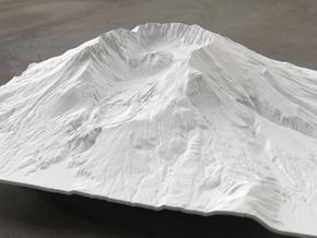 8'' Mt. St. Helens Terrain Model, Washington, USA in White Strong & Flexible