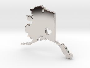 I Love Alaska Pendant in Rhodium Plated Brass