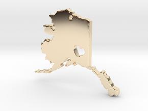 I Love Alaska Pendant in 14k Gold Plated Brass