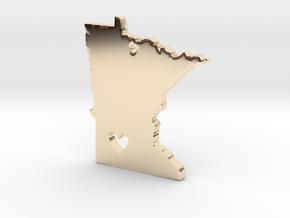 I Love Minnesota Pendant in 14k Gold Plated Brass