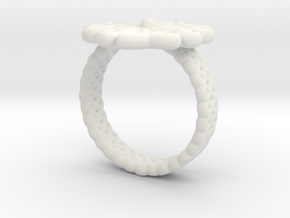 Floral Ring - Size 7 in White Natural Versatile Plastic