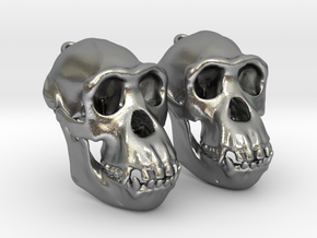 Chimpanzee Skull Earrings  (Pair of 2) in Natural Silver
