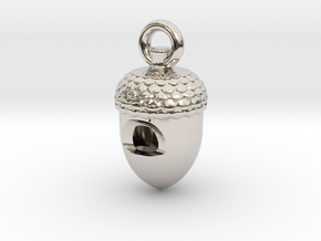 Acorn Whistle in Rhodium Plated Brass