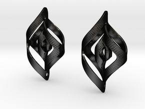 Swirl Design Earrings in Matte Black Steel