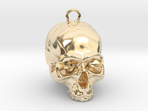 Skull Pendant 2 in 14k Gold Plated Brass