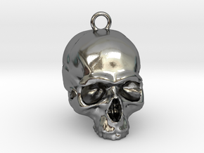 Skull Pendant 2 in Polished Silver