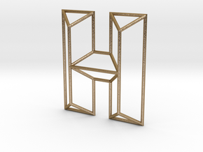 H Typolygon in Polished Gold Steel