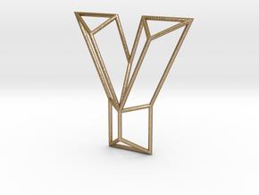 Y Typolygon in Polished Gold Steel