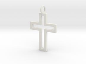 Cross Pendent in White Natural Versatile Plastic