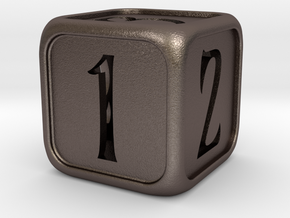 'Simple' balanced D6 die with numbers in Stainless Steel