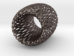 Torus Pendant in Polished Bronzed Silver Steel