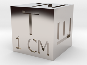 1 CM Photo Scale Cube in Rhodium Plated Brass