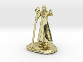 Female Dragonborn Wizard in Robe with Staff in 18K Gold Plated