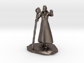Female Dragonborn Wizard in Robe with Staff in Polished Bronzed Silver Steel
