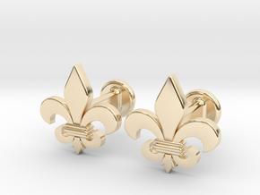 'Firenze' (fleur de lys) Cufflinks in 14k Gold Plated Brass