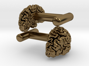 Brain cufflinks in Polished Bronze