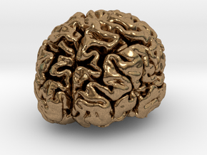 Precious metal brain pendant from MRI scan in Natural Brass