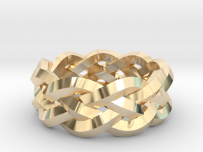 Four-strand Braid Ring in 14k Gold Plated Brass