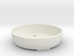 Bonsai Pot (Round) in White Natural Versatile Plastic