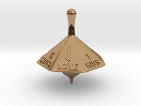 SPINNING TOP LOVE  in Polished Brass