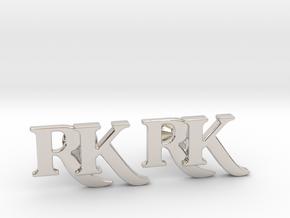 Monogram Cufflinks RK in Platinum