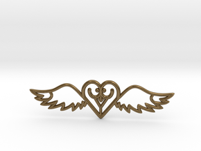 Flying Heart Necklace in Natural Bronze
