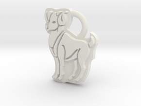 Aries Ram Ring Tag in White Natural Versatile Plastic