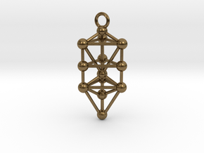 Small Triangular Tree of Life Pendant in Natural Bronze