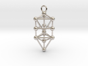 Small Triangular Tree of Life Pendant in Rhodium Plated Brass