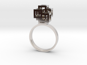 Quadro Ring - US 5 in Rhodium Plated Brass