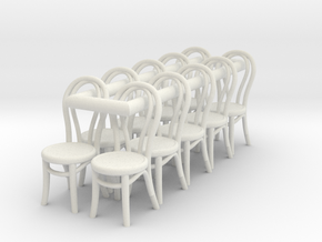 1:48 Bentwood Chairs (Set of 10) in White Natural Versatile Plastic